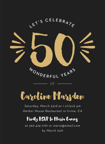 50th Milestone Birthday Invitations