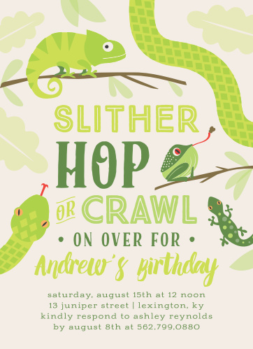 Reptile Children S Birthday Party Invitations Match Your Color