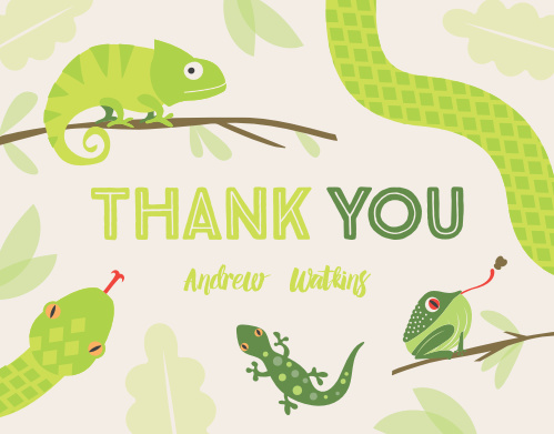 Snakes Lizards Childrens Birthday Party Thank You Cards
