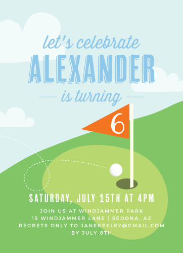 Lets Golf Childrens Birthday Party Invitations