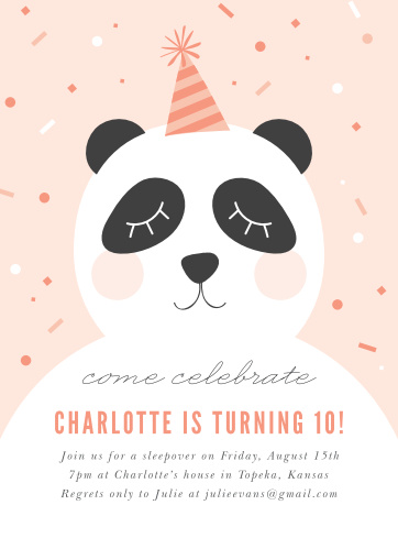 Party Panda Childrens Birthday Invitations