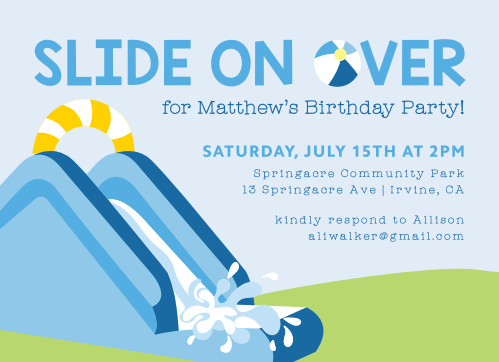 Water Slide Fun Childrens Birthday Party Invitations