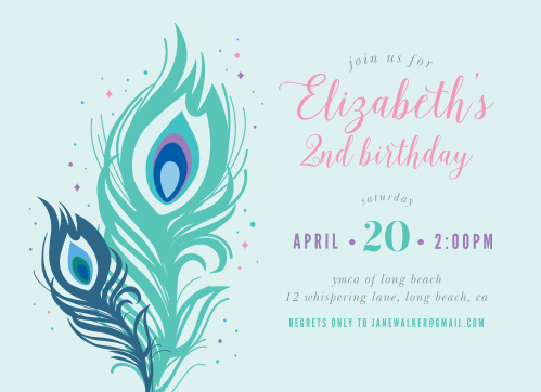 Pretty Peacock Childrens Birthday Party Invitations