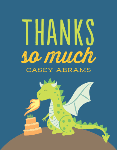 Fired Up Dragon Childrens Birthday Party Thank You Cards