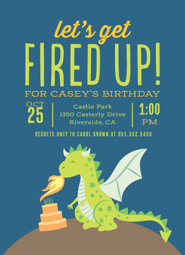 Fired Up Dragon Childrens Birthday Party Invitations