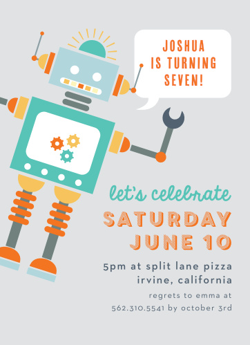 Robot Celebration Childrens Birthday Party Invitations