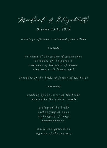 Union of Souls Wedding Programs