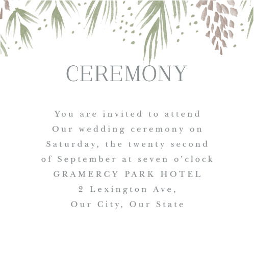 Winter Wonderland Ceremony Cards