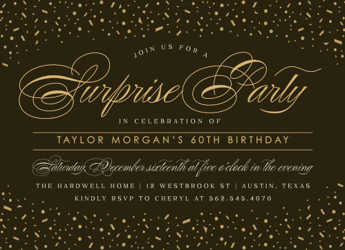 Formal Surprise Milestone Birthday Party Invitations