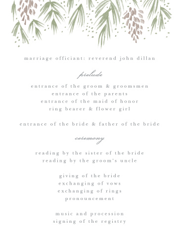 Winter Wonderland Wedding Programs
