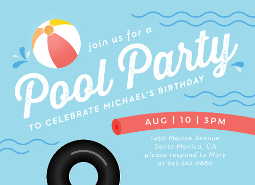Pool Time Childrens Birthday Party Invitations