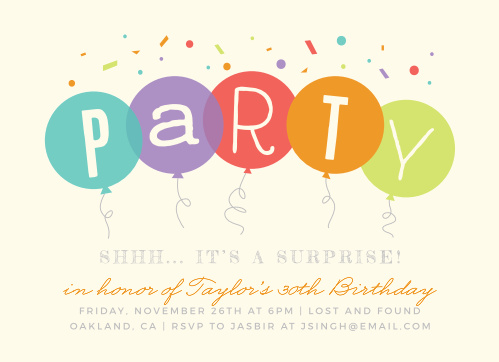 Surprise Balloons Milestone Birthday Party Invitations