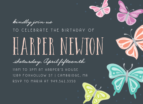 Butterfly Garden Childrens Birthday Party Invitations