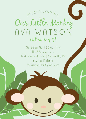 Monkey Around Childrens Birthday Party Invitations