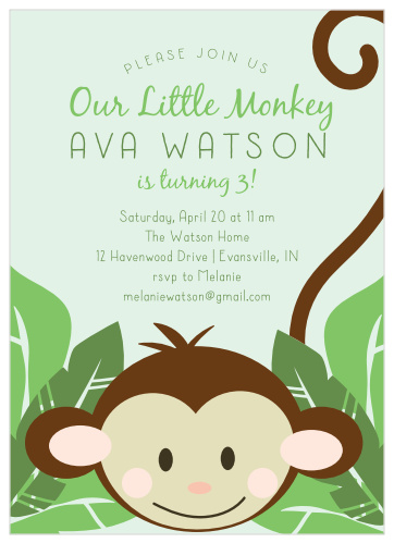 Sensational Monkey Birthday Invitations Match Your Color Style Free Interior Design Ideas Lukepblogthenellocom