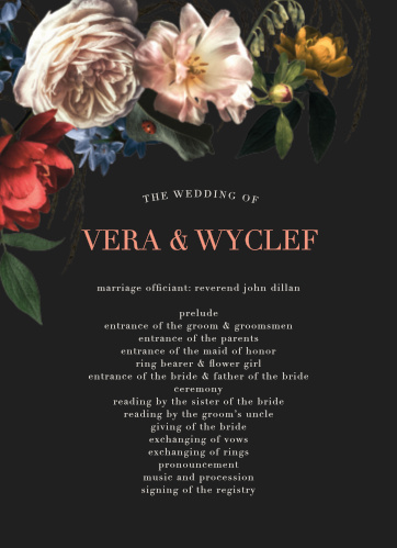 Dark Dutch Florals Wedding Programs