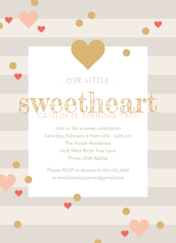 Sweetheart Birthday Childrens Party Invitations