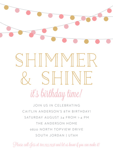 Shimmer Shine Childrens Birthday Party Invitations