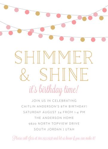 Shimmer Shine Childrens Birthday Party Invitations