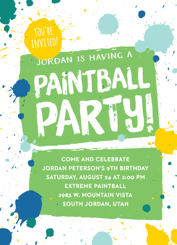 Paintball Party Childrens Birthday Invitations