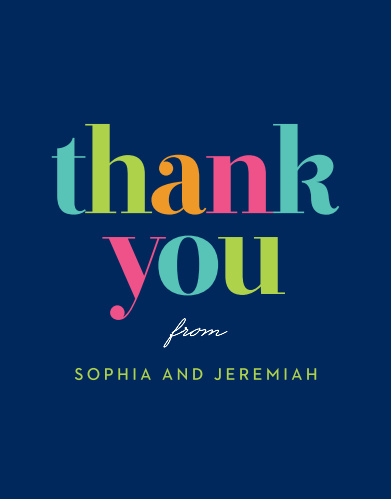 Birthday Thank You Cards | Match Your Color & Style Free - Basic Invite