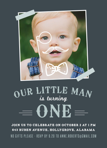 Mister Monocle Childrens Birthday Party Invitations