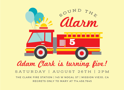 Little Fire Truck Childrens Birthday Party Invitations
