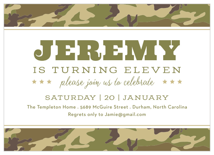 Army Camouflage Birthday Party Save The Date Invitations