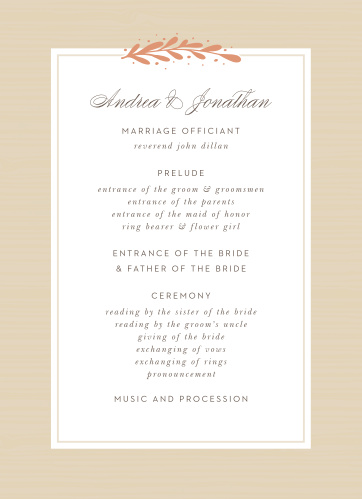 Rustic Laurels Wedding Programs