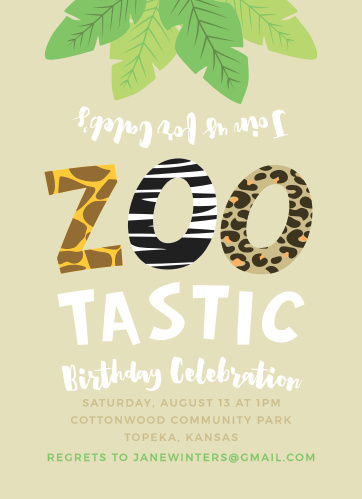 Zoo Animals Childrens Birthday Party Invitations