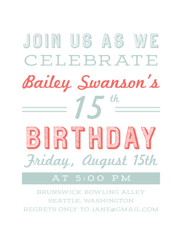 Concert Poster Childrens Birthday Party Invitations
