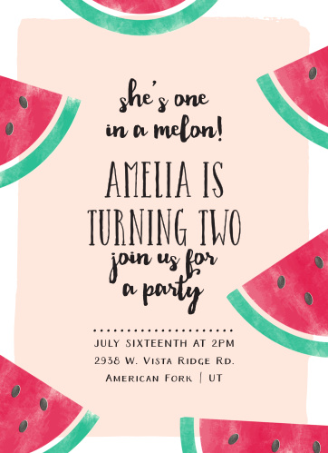 Watermelon Slice Childrens Birthday Party Invitations