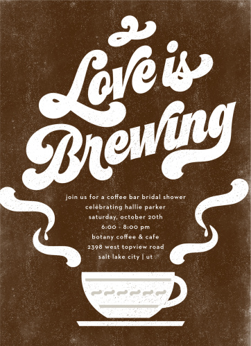 coffee love bridal shower invitations