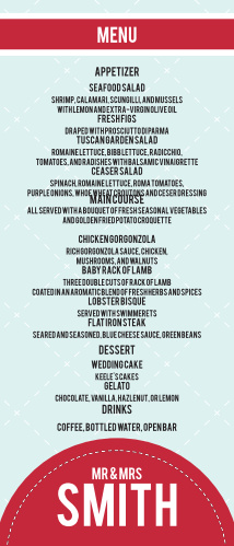 Modern Circles Wedding Menu