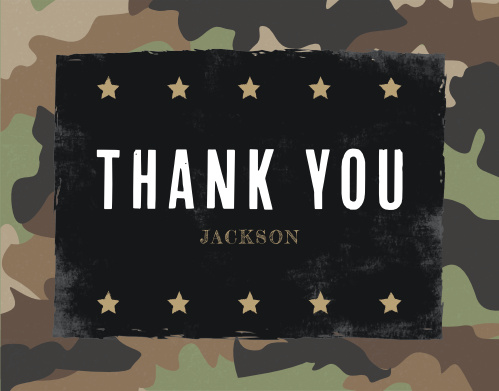Camo Party Childrens Birthday Thank You Cards