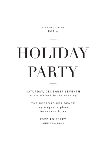 Editorial Holiday Party Invitations