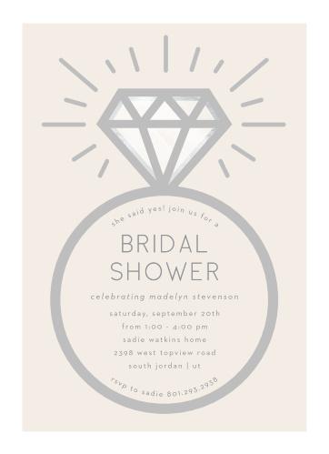 diamond ring bridal shower invitations