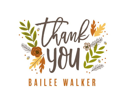 Fall Foliage Bridal Shower Thank You Cards