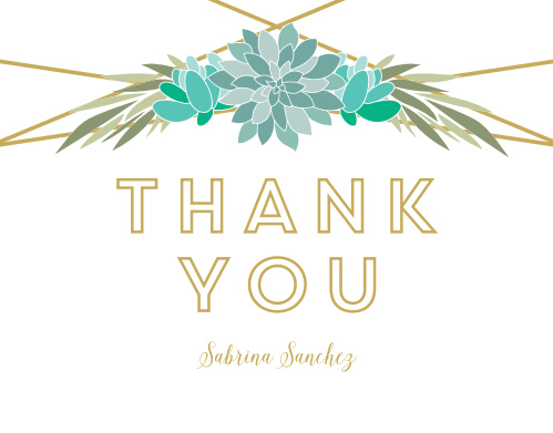 Modern Succulents Bridal Shower Thank You Cards
