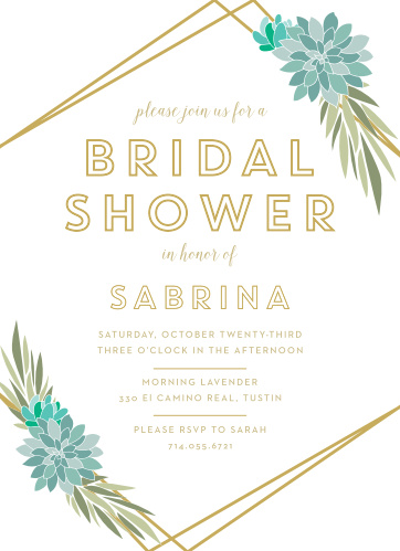 modern succulents bridal shower invitations