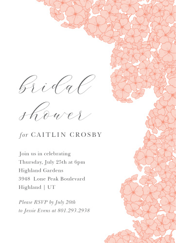 Hydrangea Bridal Shower Invitations - Match Your Color & Style Free!