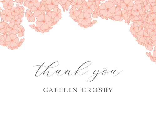 Hydrangea Blooms Bridal Shower Thank You Cards