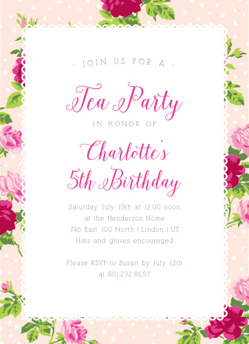 Tea Party Childrens Birthday Invitations