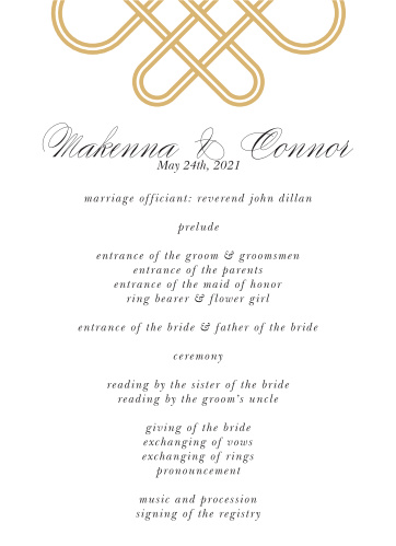 Irish Knot Wedding Programs