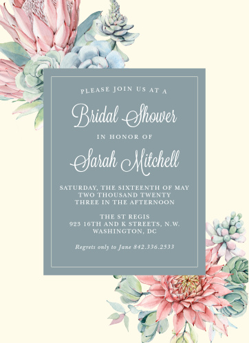 bohemian succulent bridal shower invitations