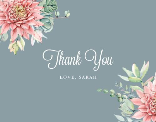 Bohemian Succulent Bridal Shower Thank You Cards