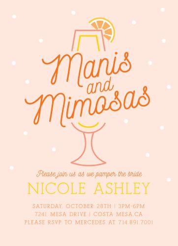 manis mimosas bridal shower invitations