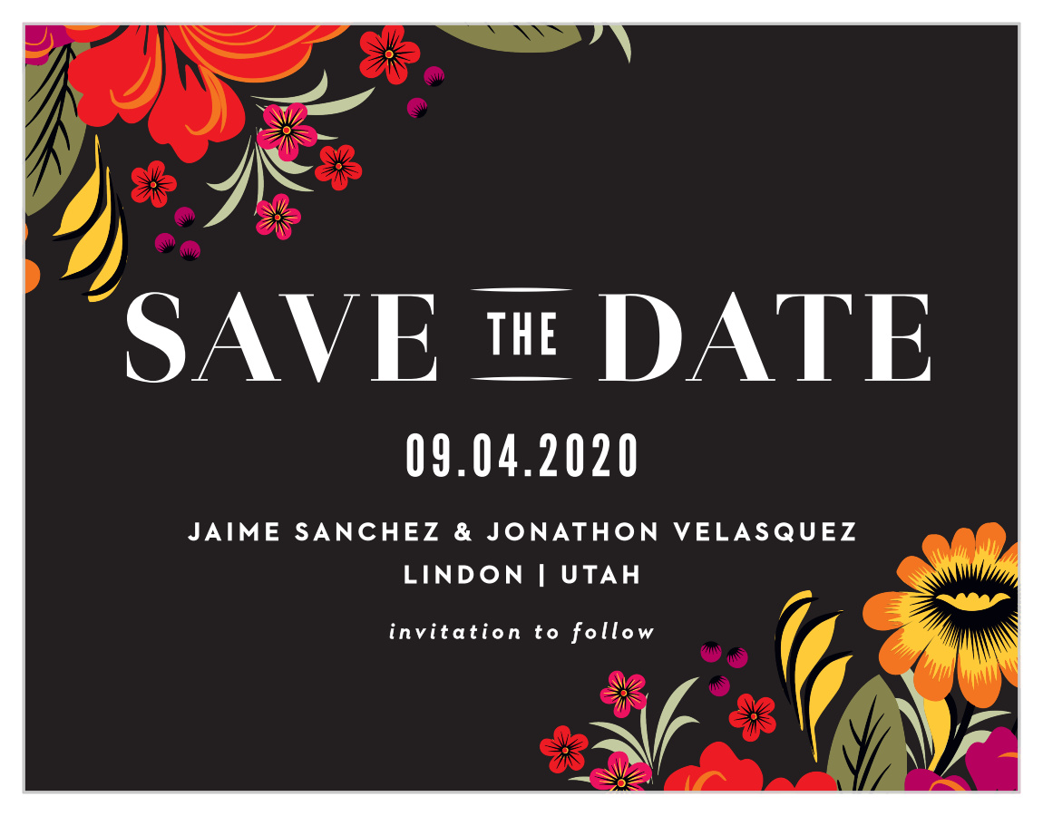 Spanish Florals Save The Date Cards