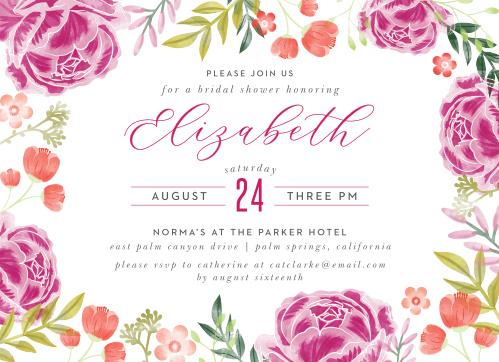 darling peonies bridal shower invitations