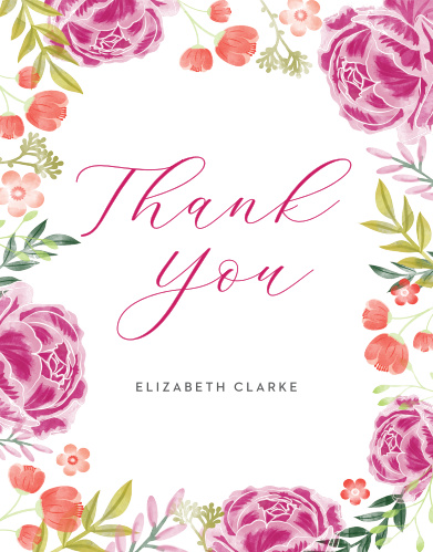 Darling Peonies Bridal Shower Thank You Cards